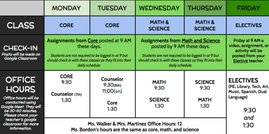 FMS Distance Learning Schedule