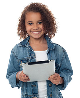 Girl holding tablet curly hair