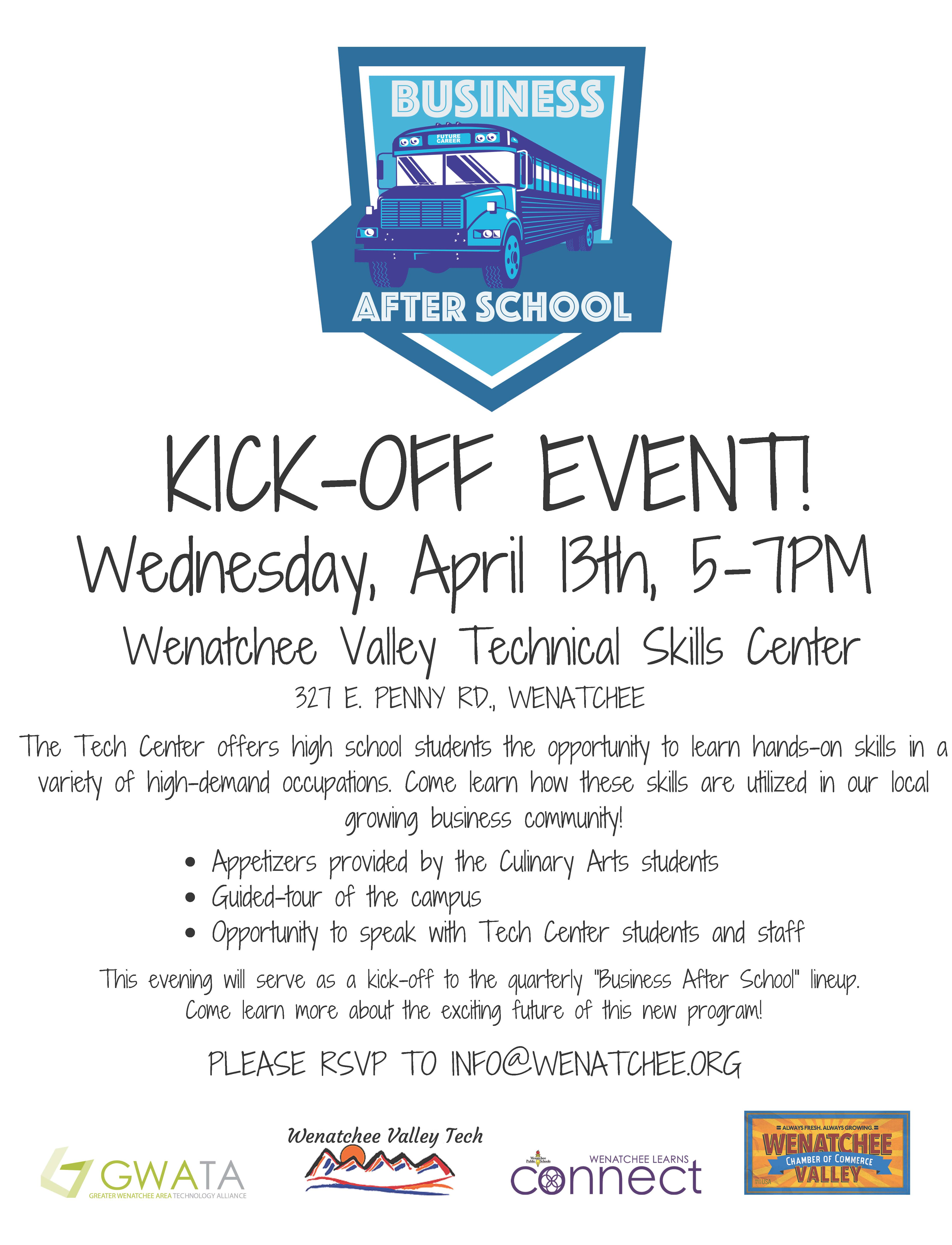 Business after school kick off event flyer