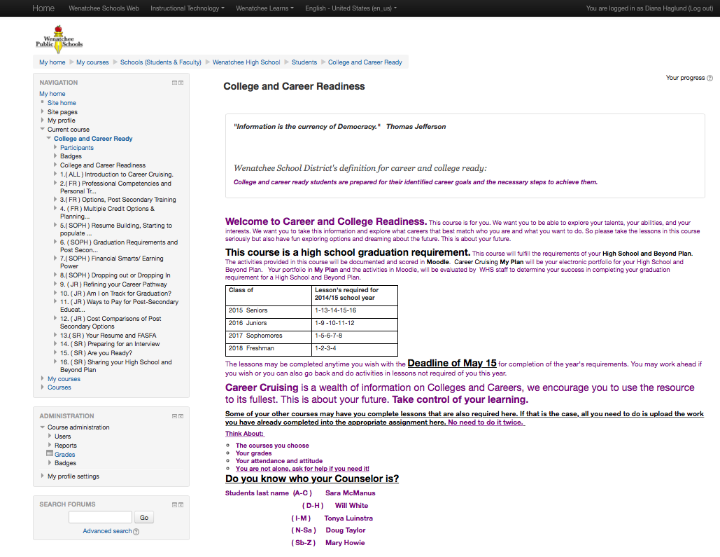 Screenshot of Moodle portal