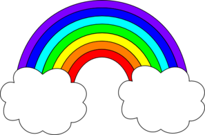Rainbow spanning two clouds