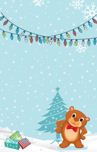 Christmas Illustration Featuring Lights, Tree, Packages and a Cute Teddy Bear.