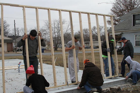 Students Working on Framing the exterior of the Habitat for Humanity House