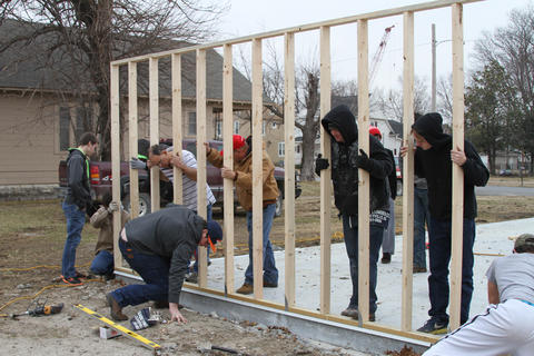 Another View of Students Working on Framing the Exterior for the Habitat for Humanity House