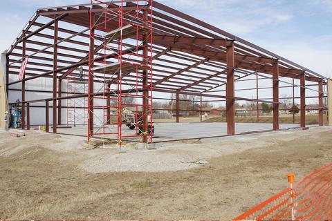 View of steel framework.
