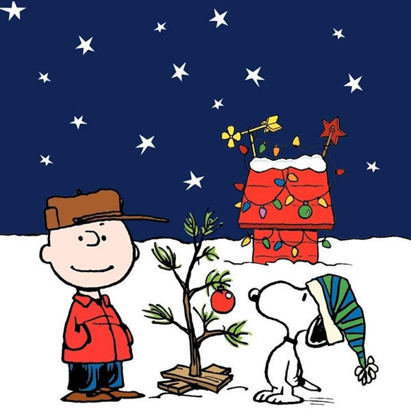 Charlie Brown and Snoopy and Classic Christmas Tree Graphic