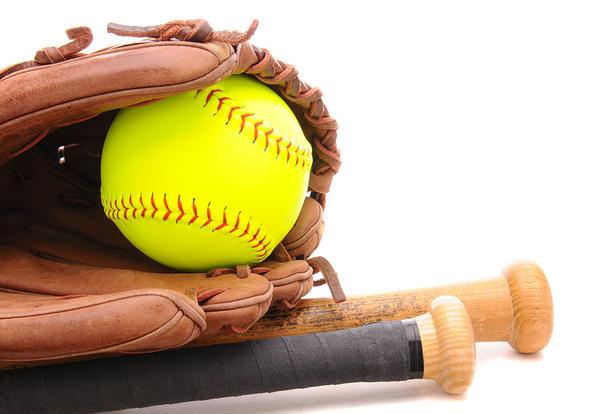 Softball, bats and a glove
