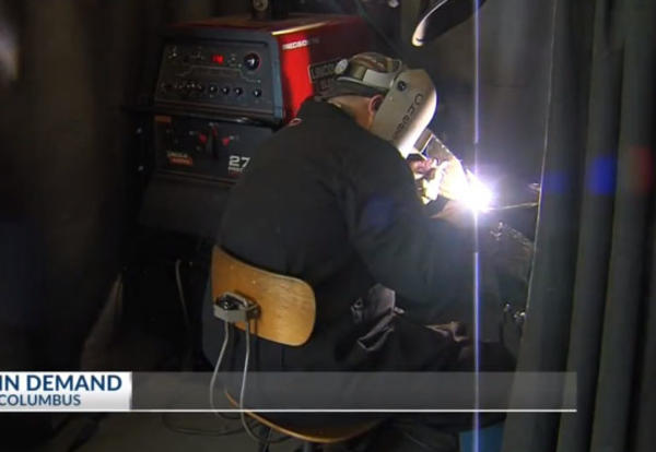 Screen shot from KSNF segment on Columbus Welding Program