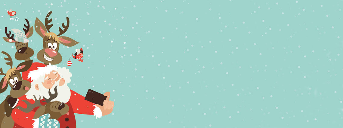 Illustration of Santa and Reindeer on Green Background With Falling Snow