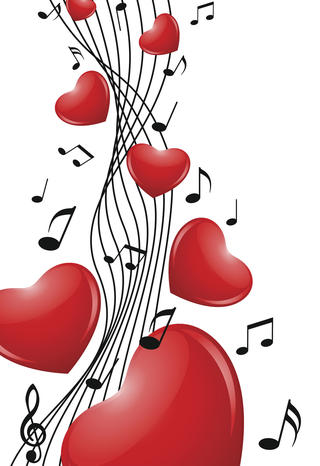 Illustration Featuring Red Hearts and Musical Notes