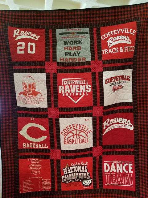Hand-crafted t-shirt quilt made from several Red Raven athletic program t-shirts.