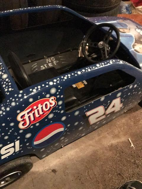 Blue fiberglass go-cart with Star Wars characters and Pepsi and Frito Lay logos.