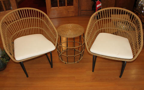 3-piece wicker patio set including two chairs and one wicker end table
