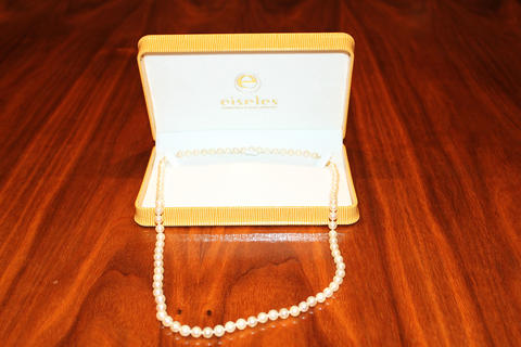 """14-carat, 46 clasp and 24"""" 7-6.5 round cultured pearl necklace"""