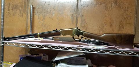 Sideview photo of the Henry lever-action Gold3n Boy 22 mag rifle