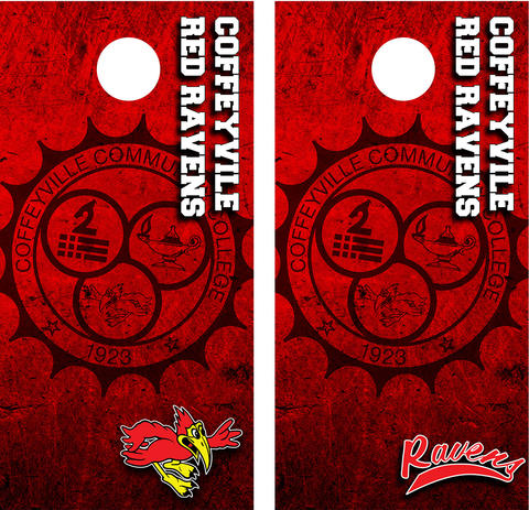 """View of the Custom Designed Red Raven Cornhole Games, One with Ravens athletic swoosh and a second with the Raven """"bird"""" logo"""