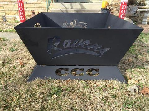 Wide view of the custom made Red Raven fire pit