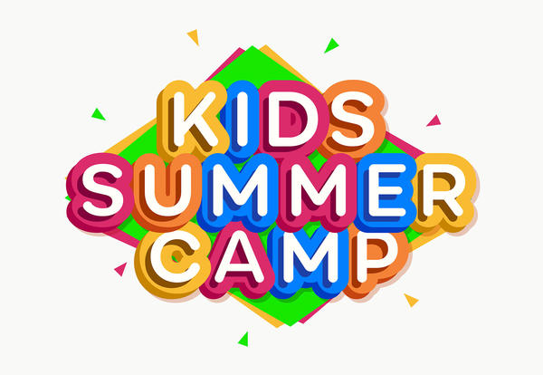 Kids Summer Camp Word Illustatration, Text in Rainbow of Colors