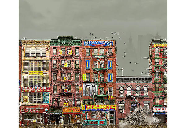 Illustration on Lower Manhattan Apartment Complex