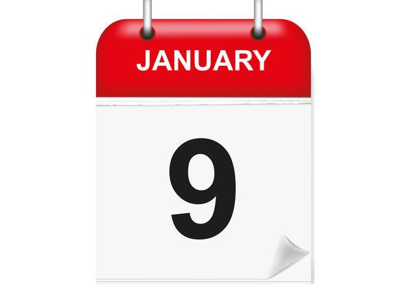 January 9th text in an illustrative calendar