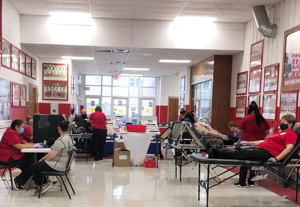 A wide view of donors giving blood inside Nellis Hall on Sept. 2.