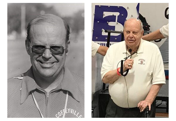 Photos of Dick Foster during his coaching career at Coffeyville and a second at the 2019 Endowment Auction.
