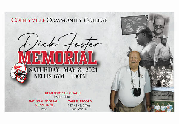Dick Foster Memorial Illustration With Photos From the Past and Date of Time of Memorial Service