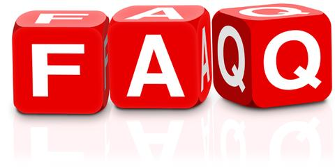 FAQ Text in White Letters on Red Dice