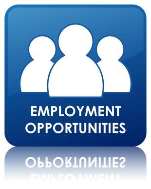 Employment Opportunities in White Text with White Human Figures on Blue Background