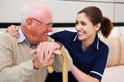 Nurse Aide Helps Senior Gentleman