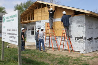 Students Working on Habitat for Humanity House