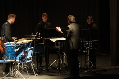 Percussion Ensemble Performing in the Spencer/Rounds Theatre
