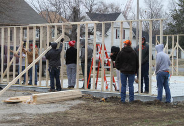 CCC Construction Students Building House for Habitat for Humanity