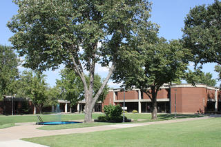 Wide View of Campus Courtyard Looking Toward Library