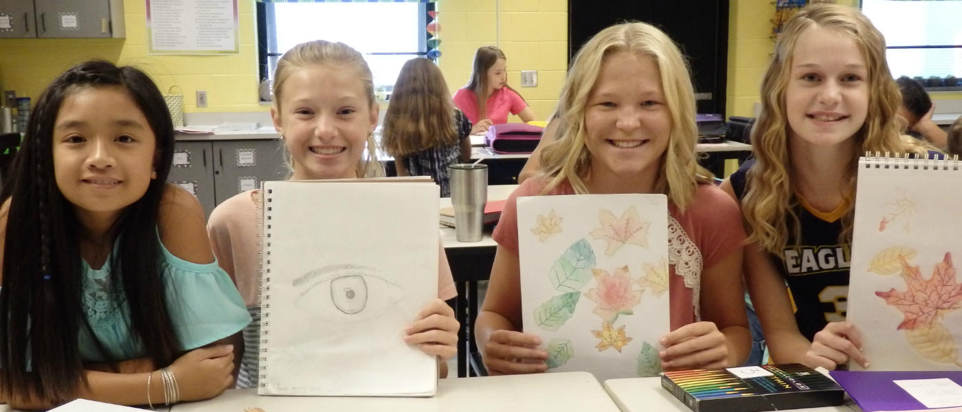 RMS Students with Artwork