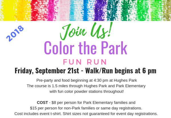 Color the Park Fun Run ~ September 21 ~ 6 p.m.