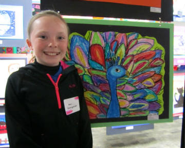 Student with artwork