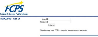 Screenshot of employee login page