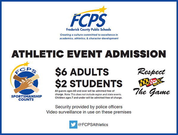 FCPS Athletic Event Admission sign