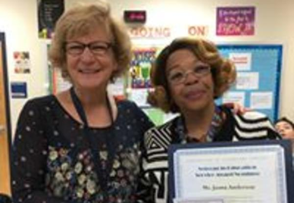Juana Anderson Named 2018 Substitute Teacher of the Year