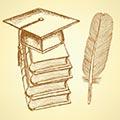 Graduation Cap, books, quill