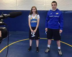 Walkersville High athletes at a sportsmanship video filming.