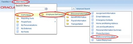 Screenshot of employee self service system
