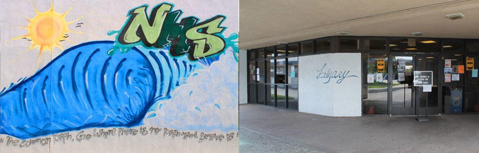 North High School graffiti art on left and a view of the Library entrance on the right