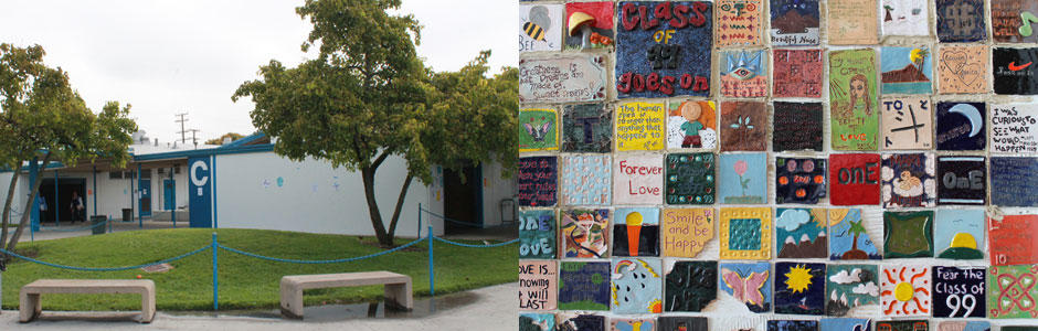 Front view of North High School on the left and a collage of students Artwork on right