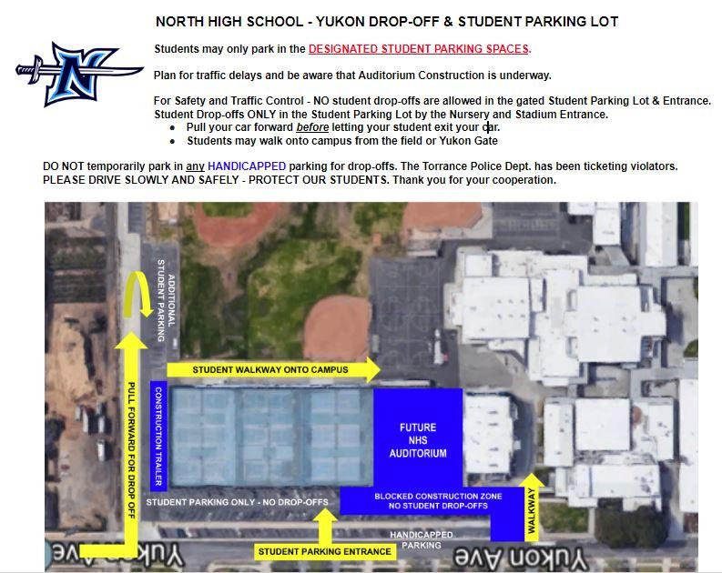 NHS - Yukon Drop-off and Student Parking Lot