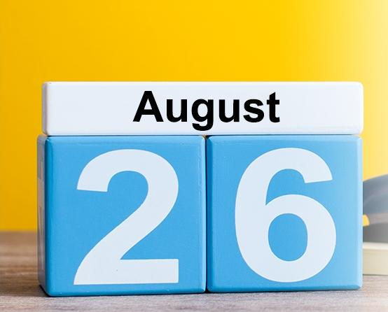 Clipart image of a day on a calendar. Text reads: August 26th, 2019