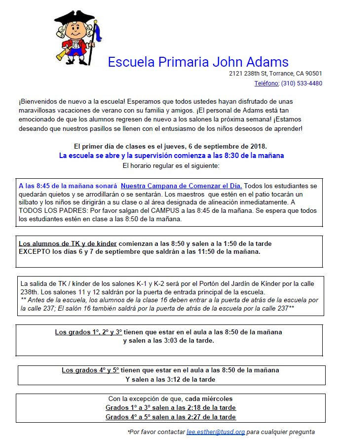 Principal's Message - front page, Spanish