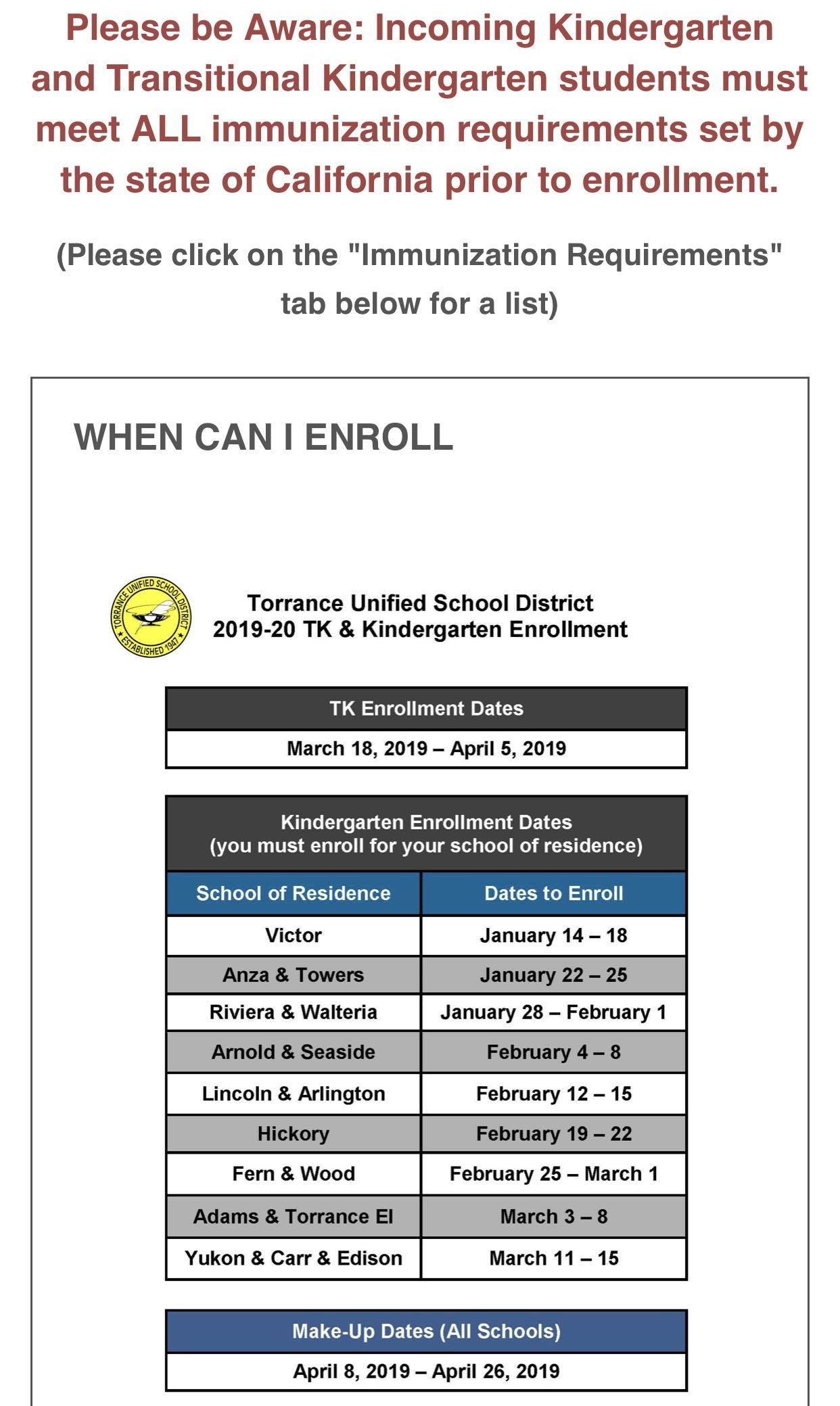kindergarten immunization and enrollment dates