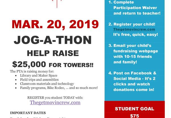 Jog A Thon flyer, March 20, 2019